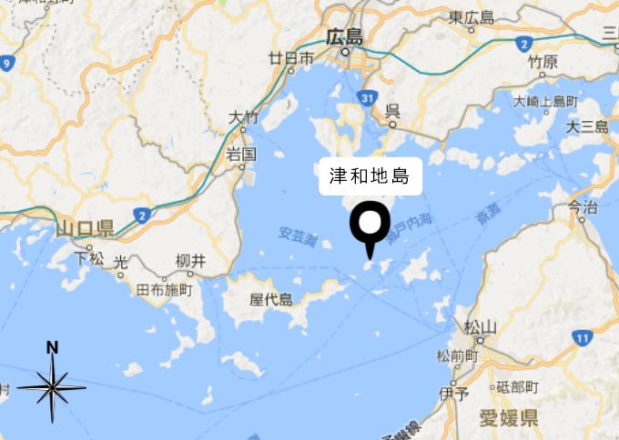 津和地島は、瀬戸内海の中心にあります