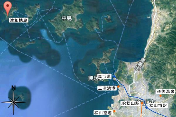 松山市内から津和地島への経路