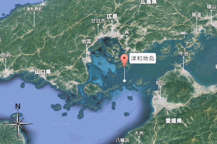 津和地島は瀬戸内海の中心部にあります